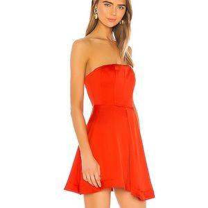 NBD Kailynn Mini Dress red orange strapless